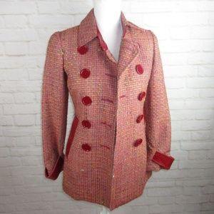 Bebe women size 2 Wool Leather Red Tweed Pea Coat